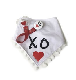 Classy Paci Classy Paci Black W/Red Hearts White Bib & Matching Pacifier Gift Set