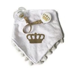 Classy Paci Classy Paci White Bib W/ Gold Crown & Pacifier Gift Set