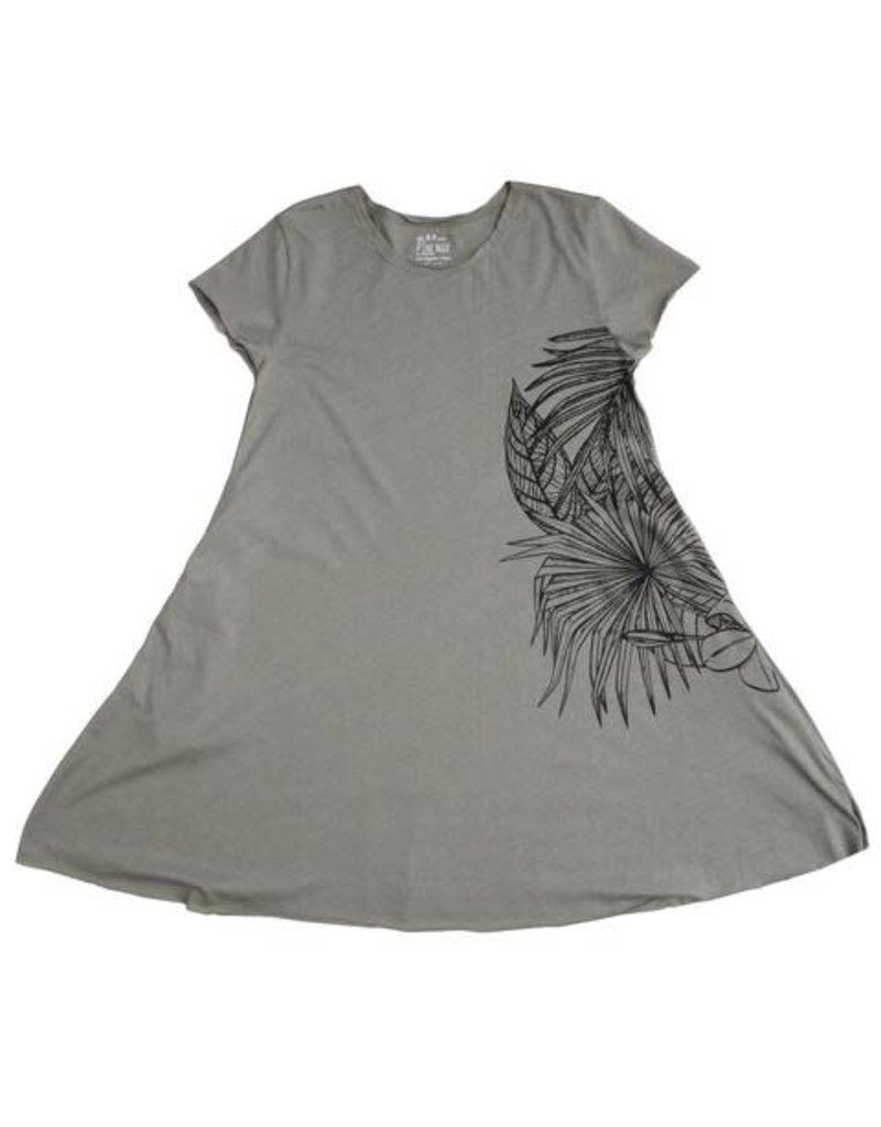 No Biggie No Biggie Pocket Dress W/ Leaves Print
