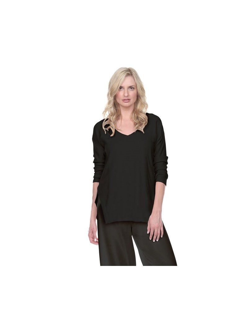 PJ Harlow PJ Harlow Rib Knit High/Low Sweatshirt Set Black