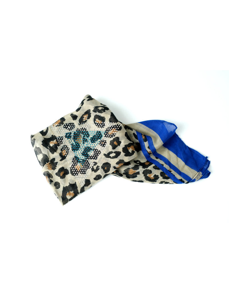 Ana & Ava Ana & Ava Leopard Tan/Blue Tichel