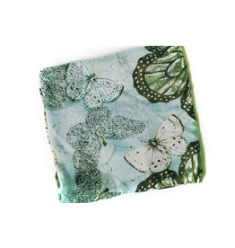 Ana & Ava Ana & Ava Teal & White Butterfly Tichel