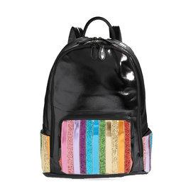 Bari Lynn Bari Lynn Glitter Stripe Front Pocket Backpacks