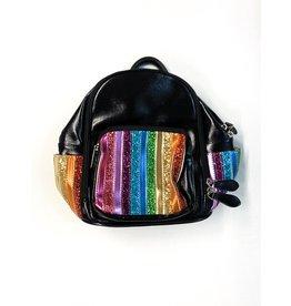 Bari Lynn Bari Lynn Glitter Stripe Front Pocket Mini Backpack