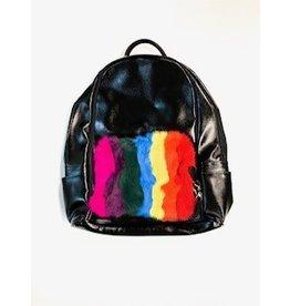 Bari Lynn Bari Lynn Rainbow Fur Backpack