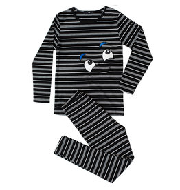 Noggi Noggi Boys Ribbed Striped Smile Lounge Wear Set