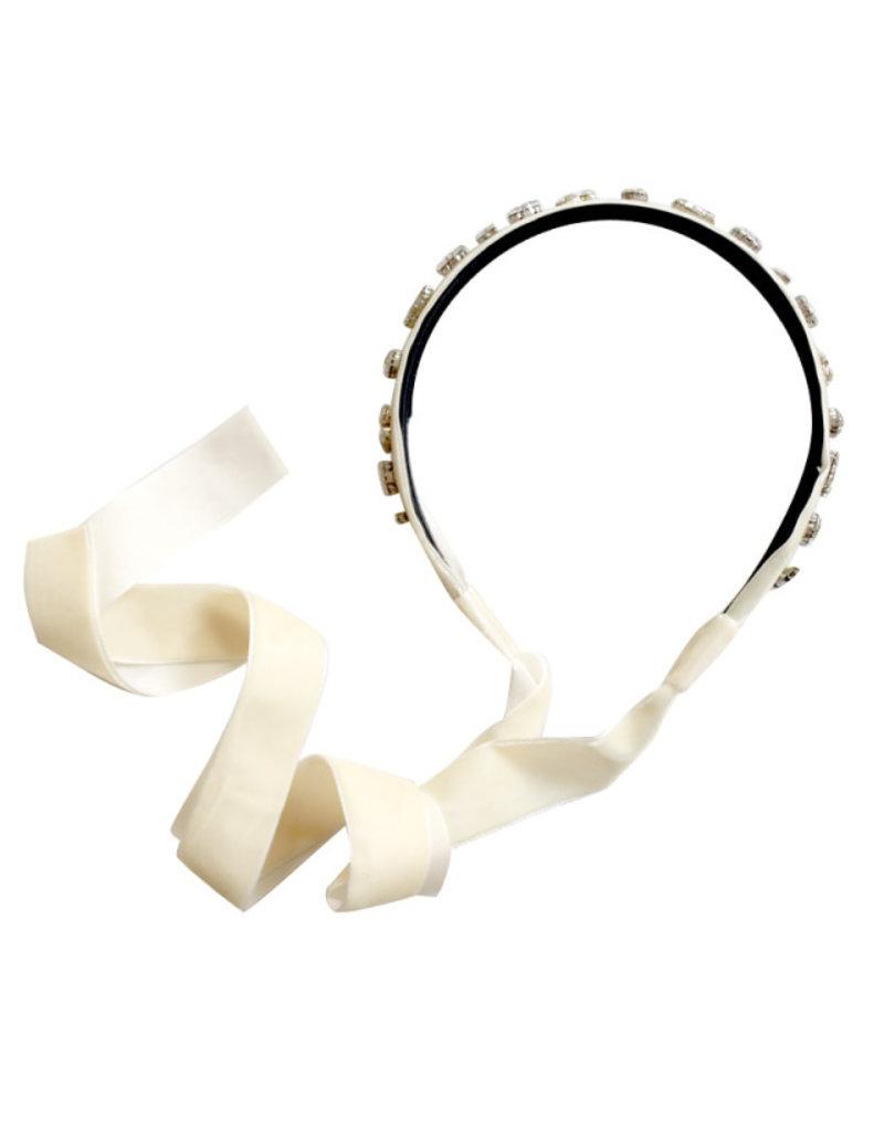 Halo Halo Ecstasy Velvet Stone Encrusted Tie Back Headband