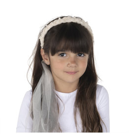 DaCee Dacee Tulle Braid with Pearls Headband
