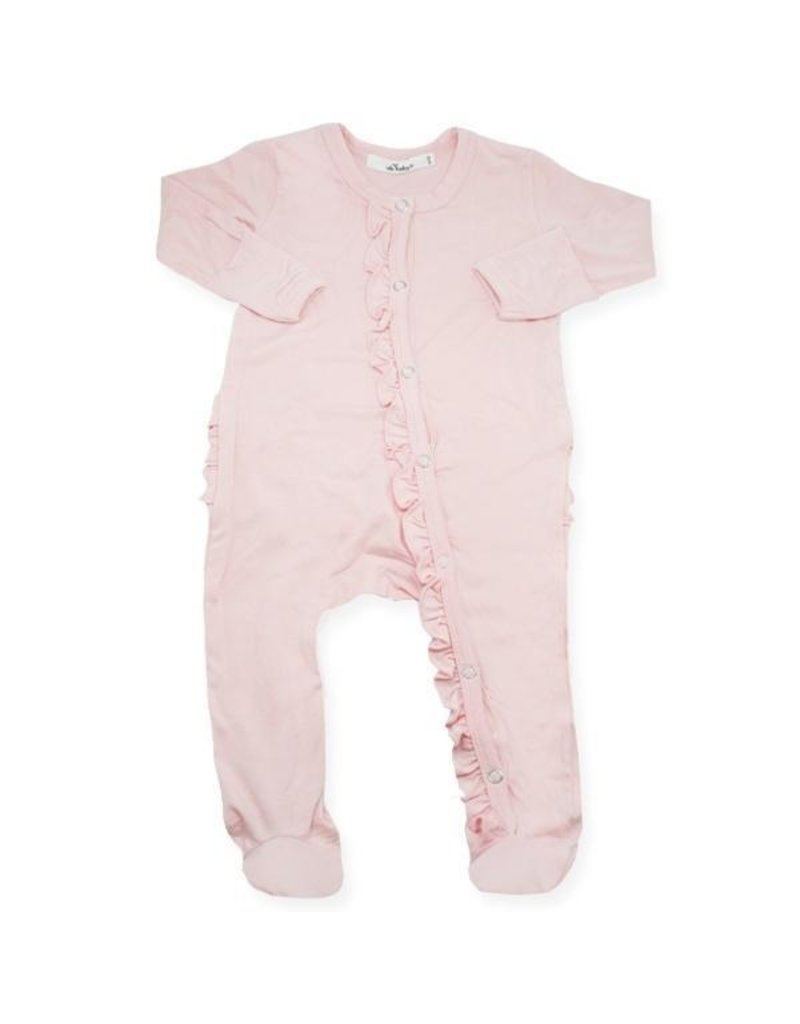 oh baby! Oh Baby Ruffle Footie Onesie Bamboo Blush