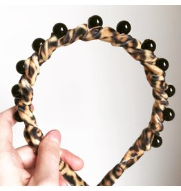 Hettie Hettie Leopard Velvet Pearl Crown Headband