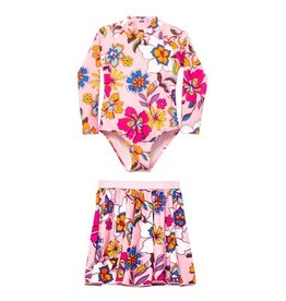 Undercover Waterwear Undercover Waterwear Kids Pink Floral Bathing Suit Set Swimwear