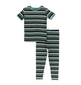 Kickee Pants Kickee Pants Short Sleeve Pajama Botany Grasshopper Stripe