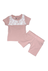 Maniere Maniere Lace Yoke Short Set