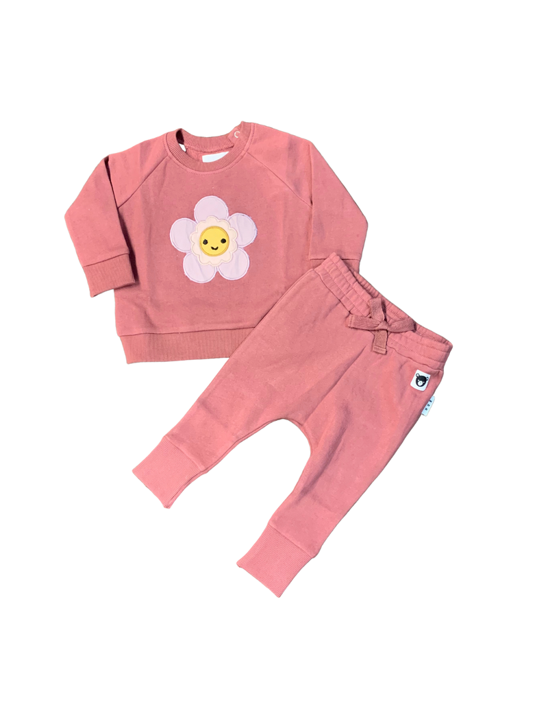 Huxbaby Hux Plum Floral Sweat Shirt w/ Pants Set
