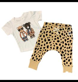 Huxbaby Hux Leopard Friends Shirt w/ Animal Sopt Drop Crotch Pant