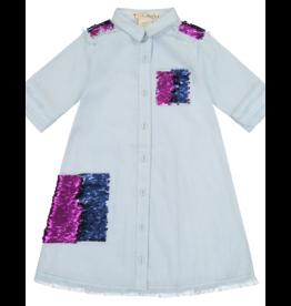 Teela Teela Denim Sequin Shirt Dress