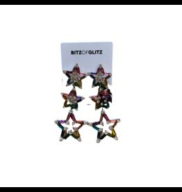 Bitz of Glitz Bitz Stone Pave Star Linear Drop Earrings