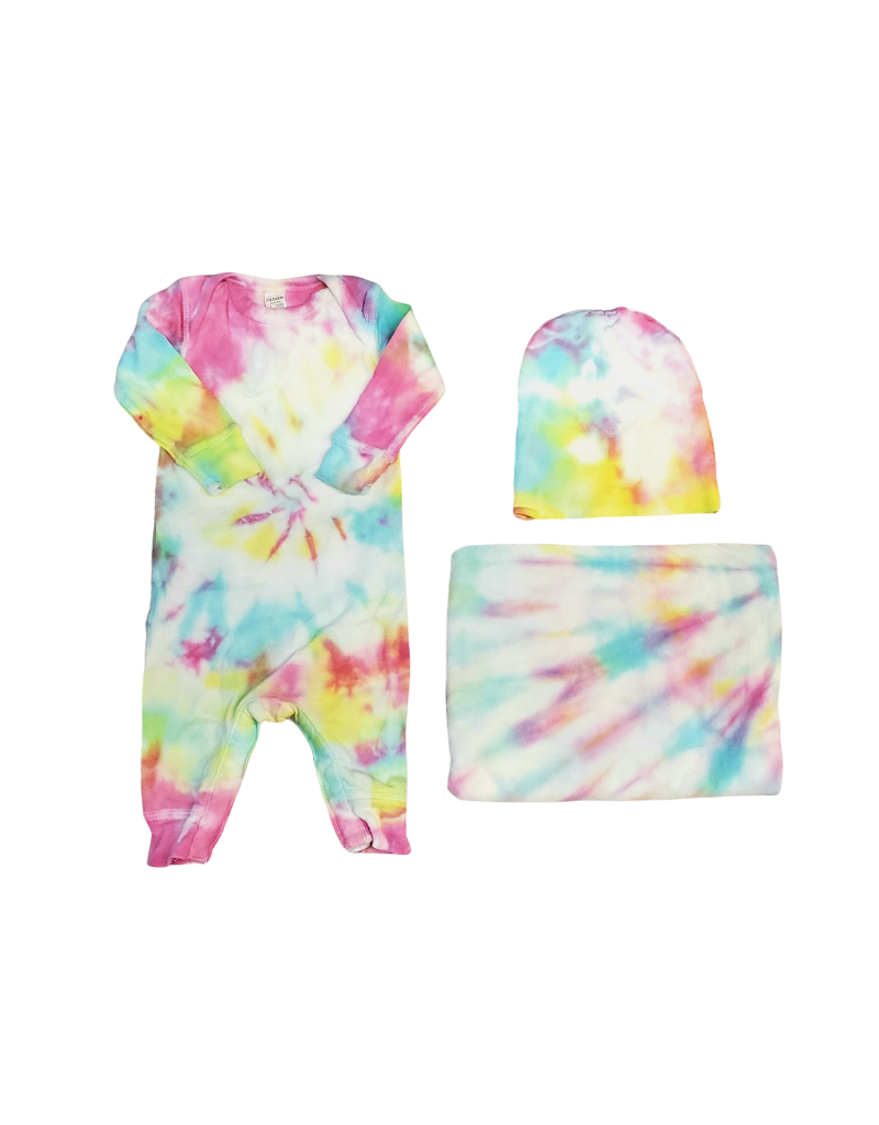 Cutie Cutie Rainbow  Footie-Baby Set (Blanket /Hat)