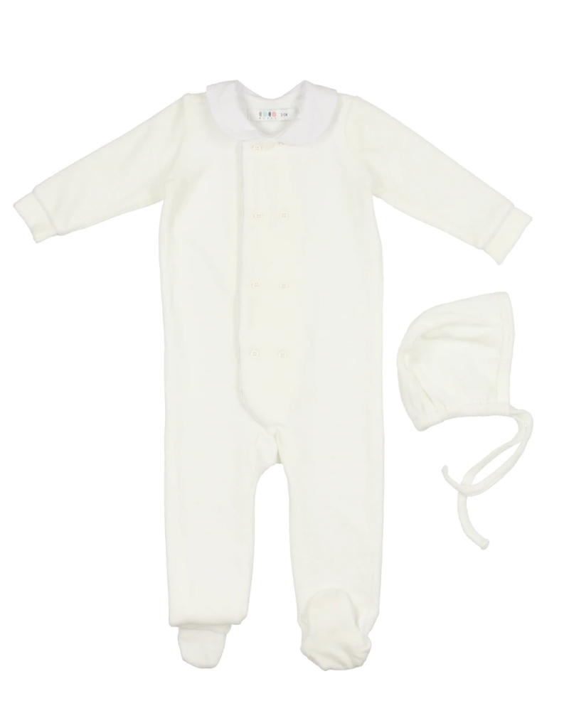 Coco Blanc Coco Blanc Double Breasted Velour Onesie