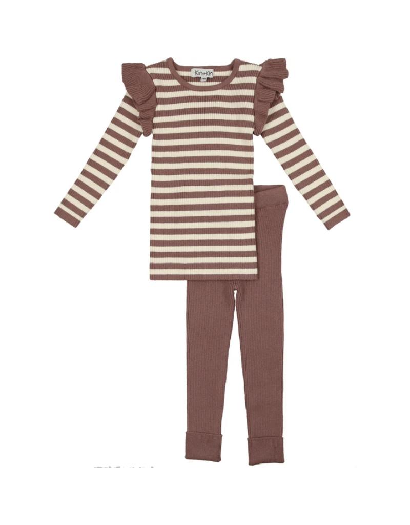 Kin + Kin Kin + Kin Striped Sweater with Ruffle Set