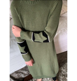 Space Grey Space Grey Girls Sweater Dress with Star Sleeve