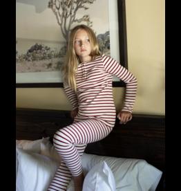 Mema Knits Mema Knits Striped Henley  Pajama