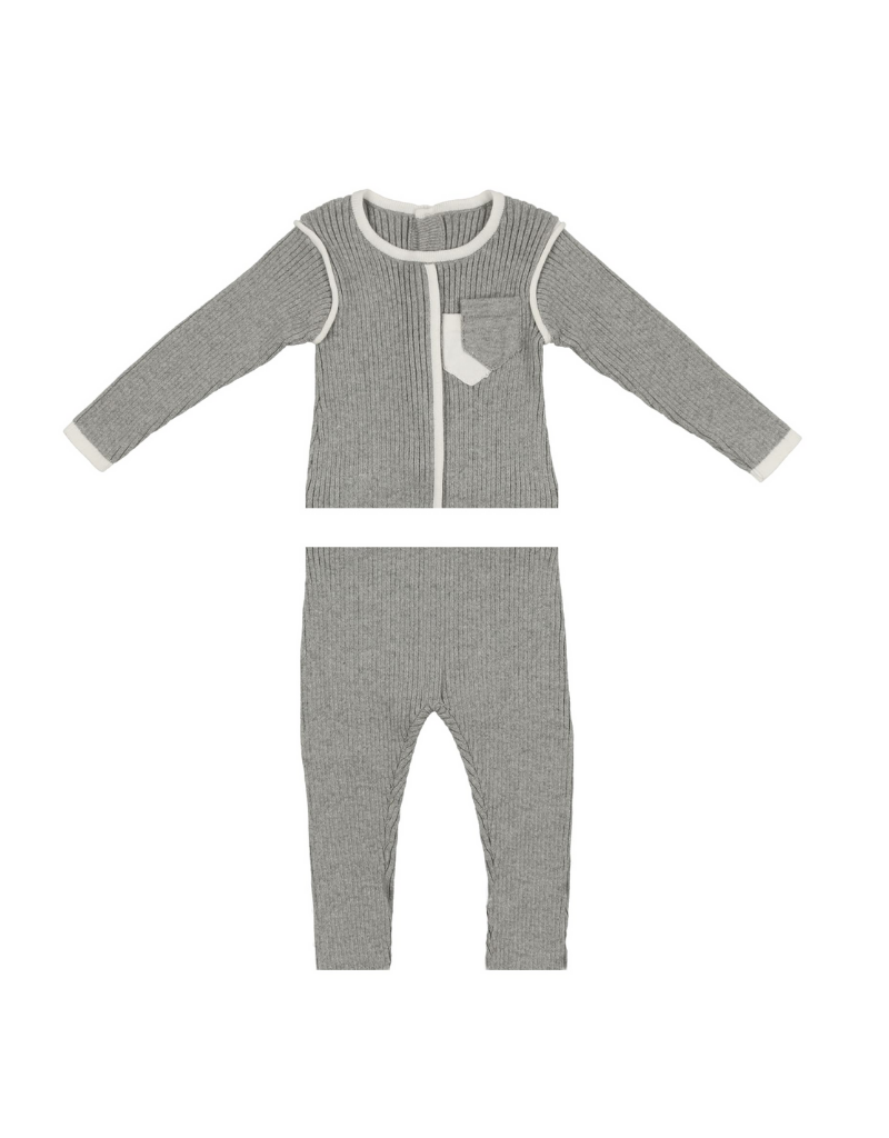 Noovel Noovel Knit Piped Pocket Set