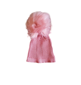 fragile Fragile Baby Rib Knit Hat with Pom Pom