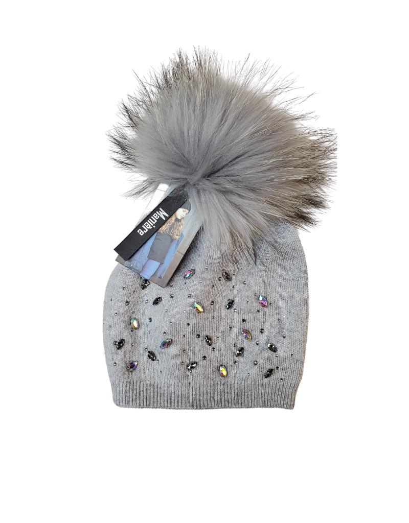 Maniere Maniere Women  Rhinestone Embellished Wool  Hat