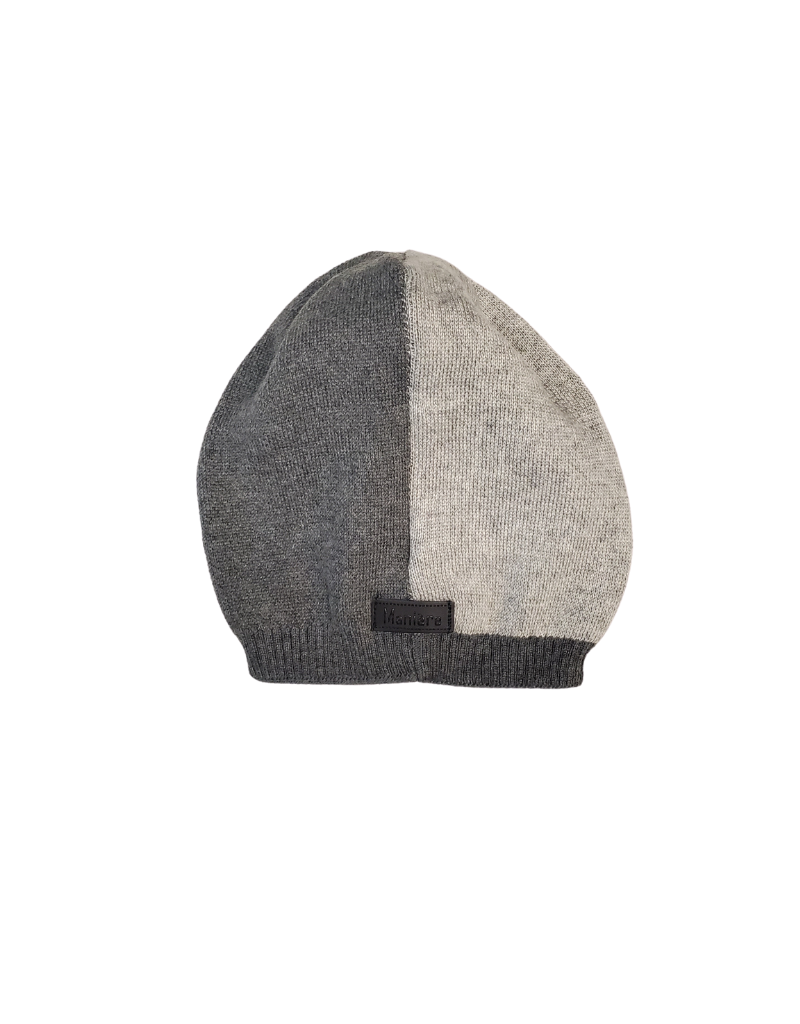 Maniere Maniere Girl  Color Block Knit Fur Hat
