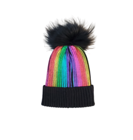 Bari Lynn Bari Lynn Girl Metalic Stripe Hat with Fur