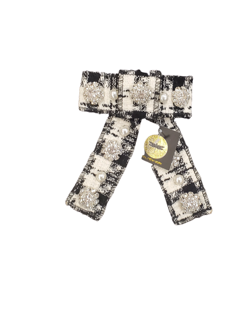 Tal Tal Tweed Plaid Crystal Bow Clip