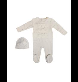 fragile Fragile Velour Baby Romper with Bows Set