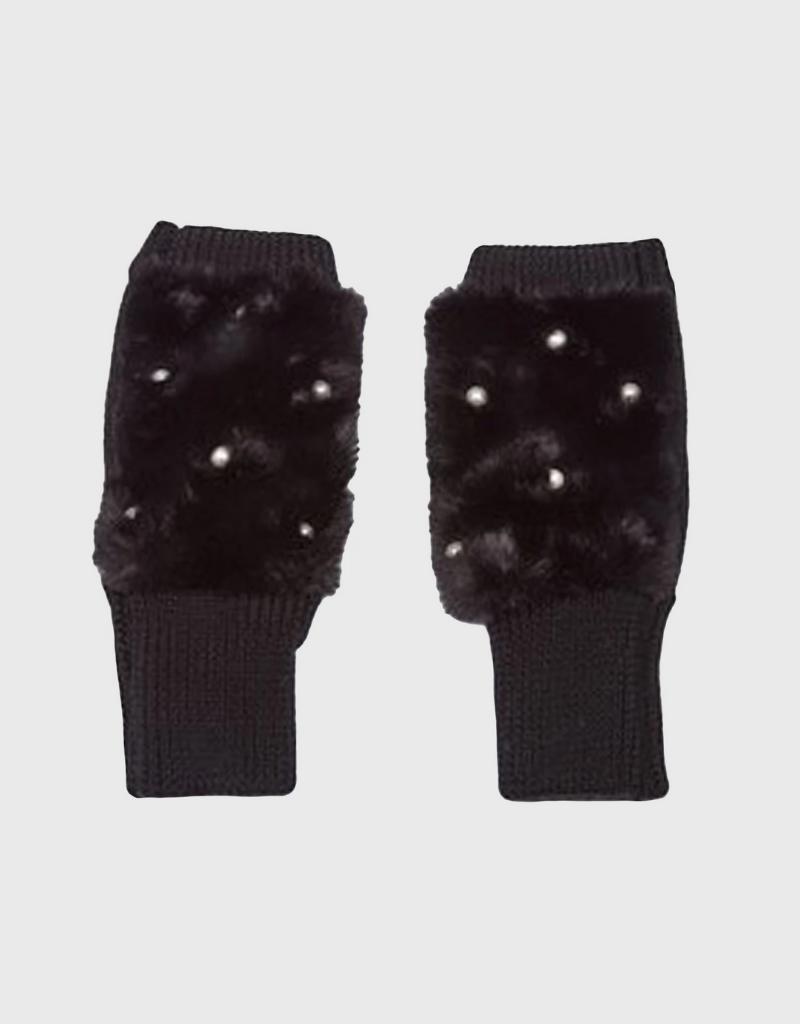 Jocelyn Jocelyn Faux Fur Texty Time Mittens with Embellishment