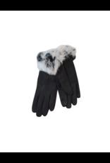 Memoi Memoi Velour Gloves with Faux Fur-MEG-HK904B