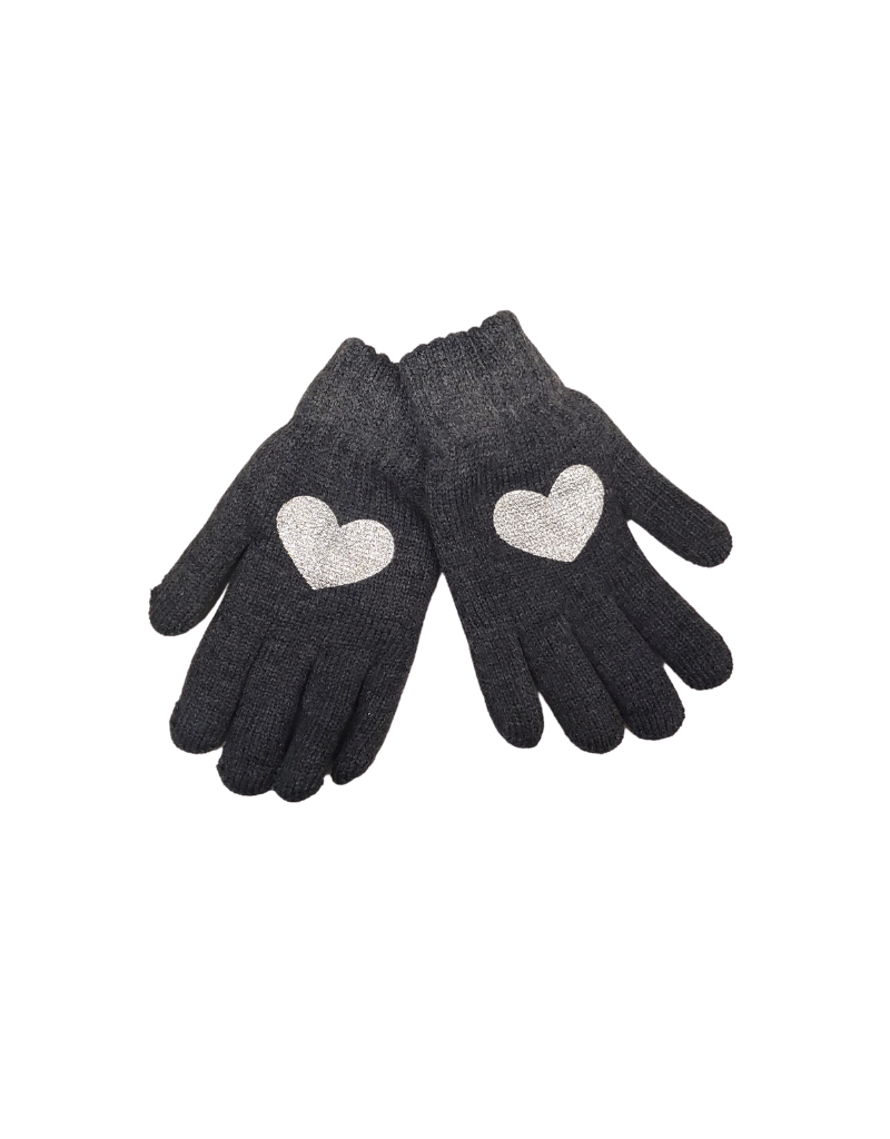 DaCee DaCee Girl  Knit Foil Heart Gloves