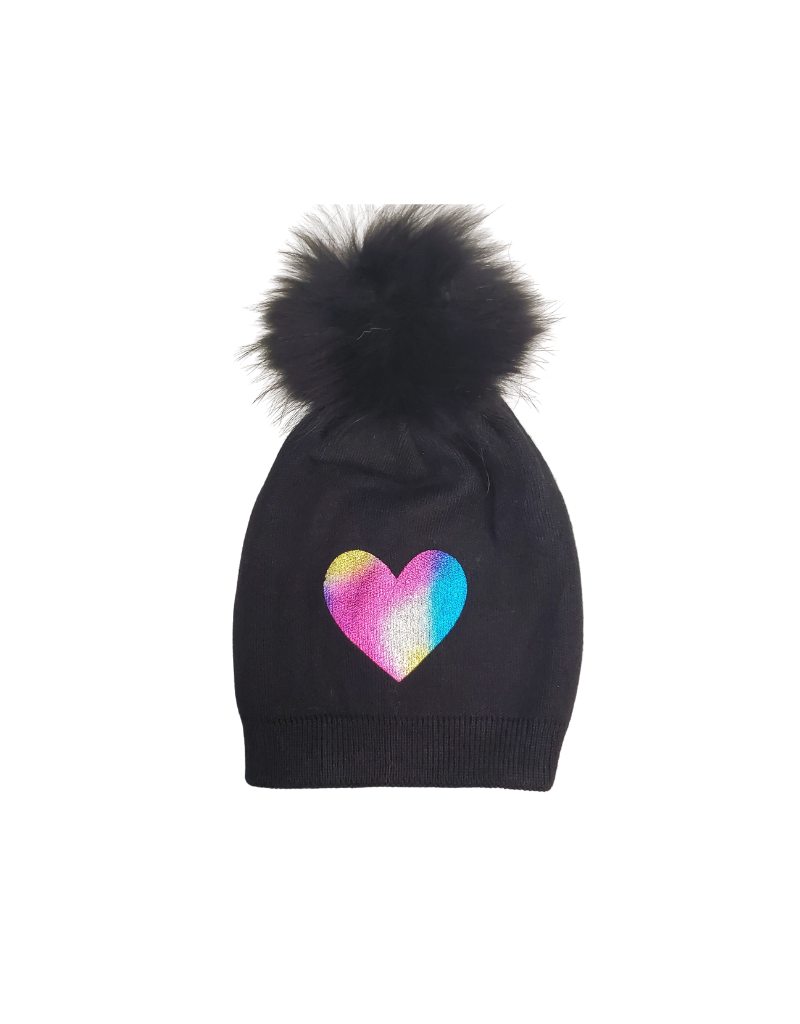 DaCee DaCee Girl Knit Foil Heart Hat with Pom-Pom
