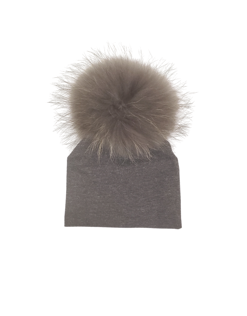 Maniere Maniere Baby Raccoon Fur Pom Beanie