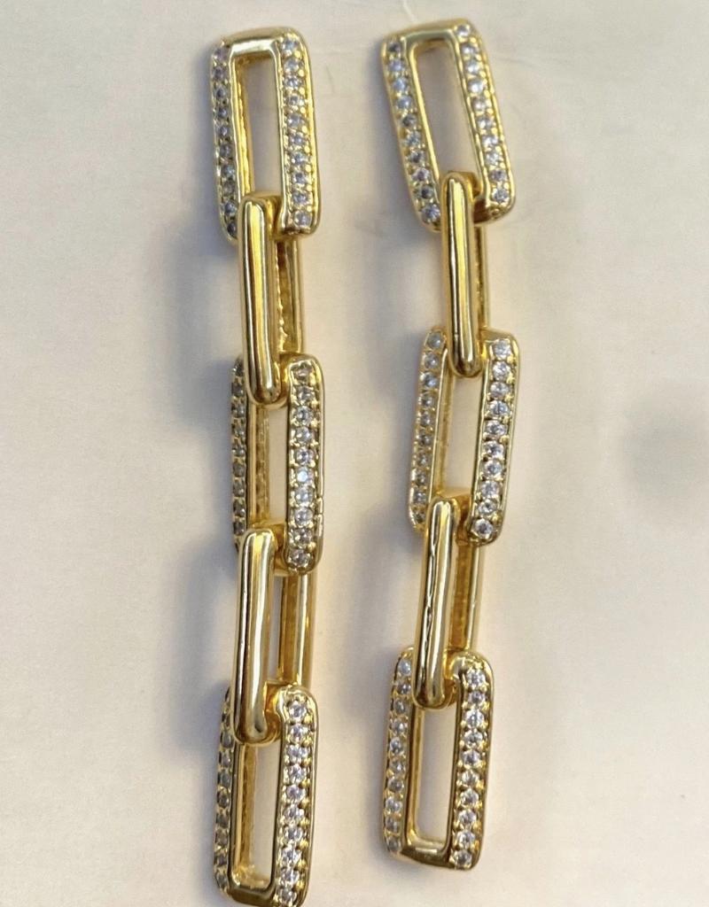 Jeweliette Jewels Jeweliette Pave' Hanging Link Earrings
