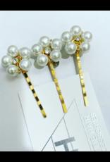 Hettie Hettie Crystal Pearl Flower Hair Pin Set