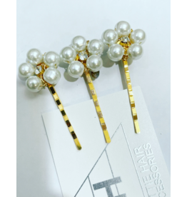 Hettie Hettie Crystal Pearl Flower Hair Pin Set