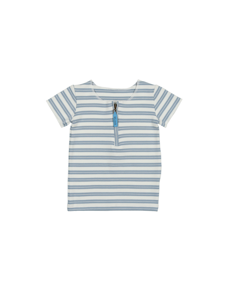 Maniere Montee Horizontal Striped Short Sleeve Shirt