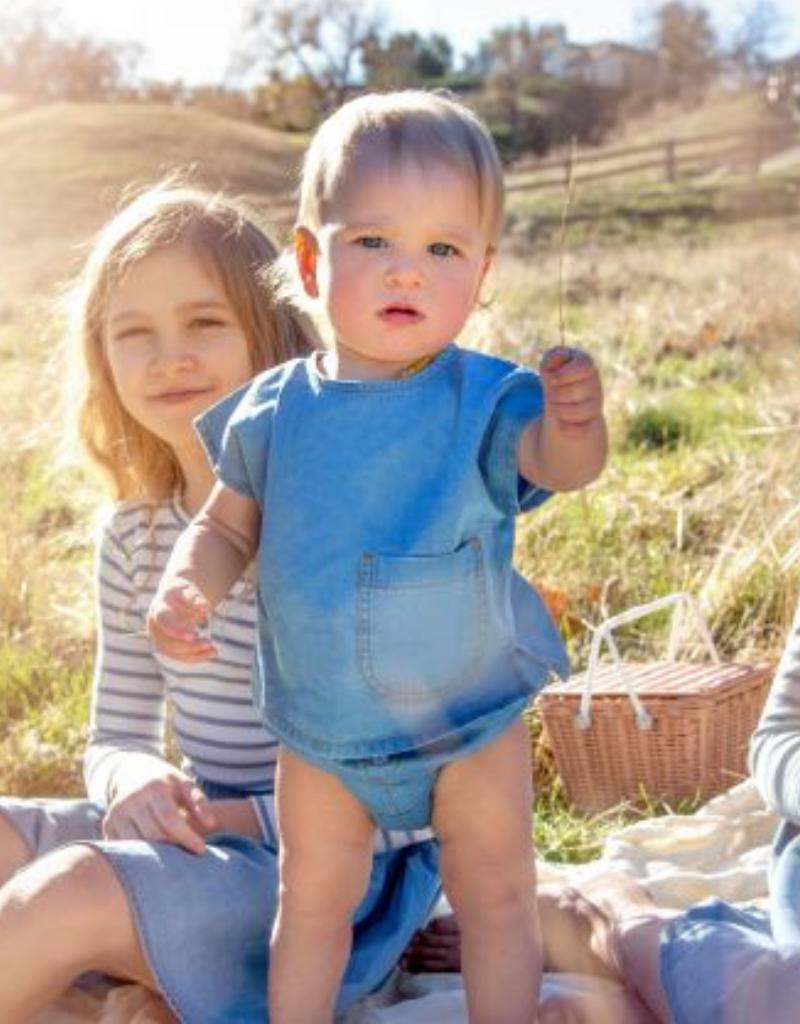 Kin + Kin Kin+Kin Infant  Denim Buttoned Bloomer Set