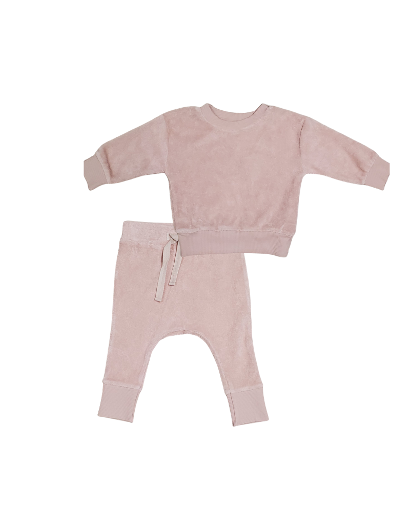 Huxbaby Huxbaby Infant Rose Terry Play Set