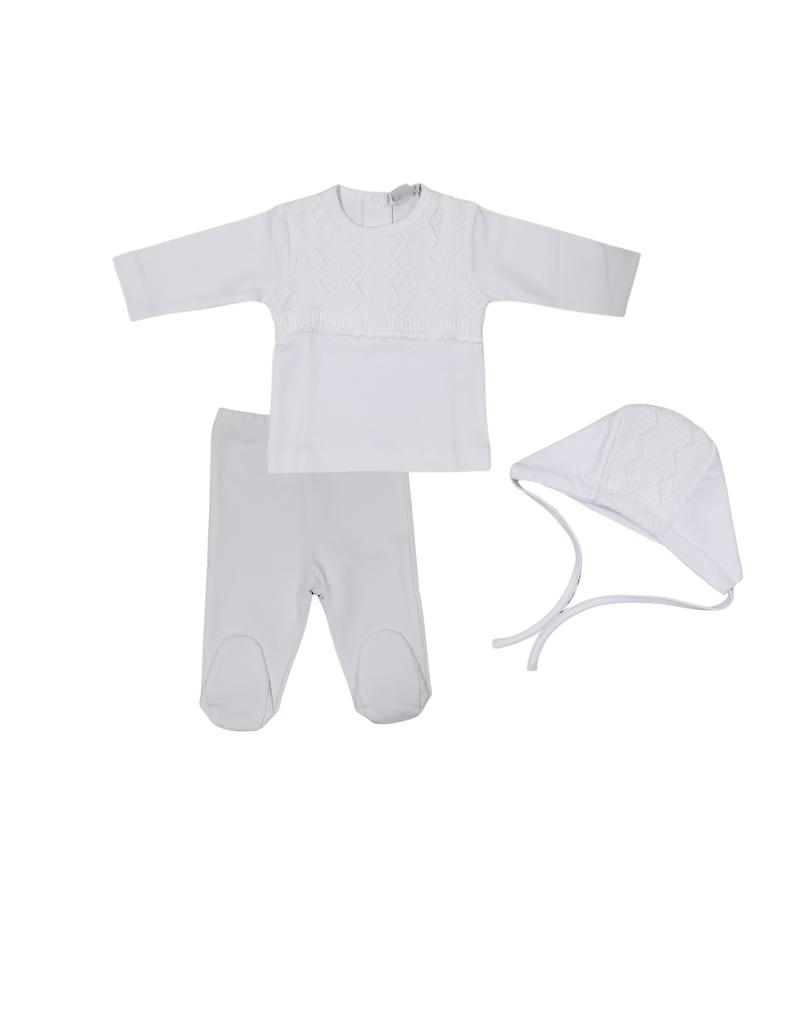Chant De Joie Chant de Joie Infant White Set with Bonnet