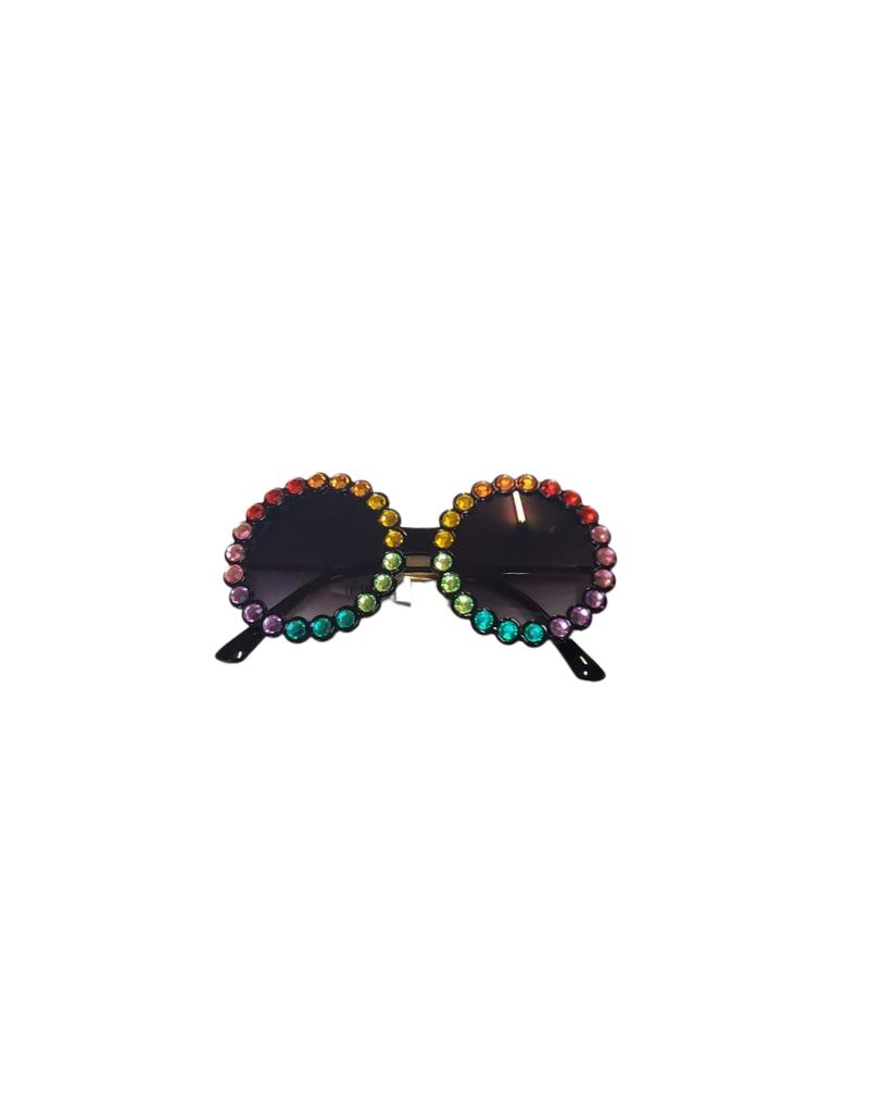 Bari Lynn Bari Lynn Fully Crystallized Round Sunglasses
