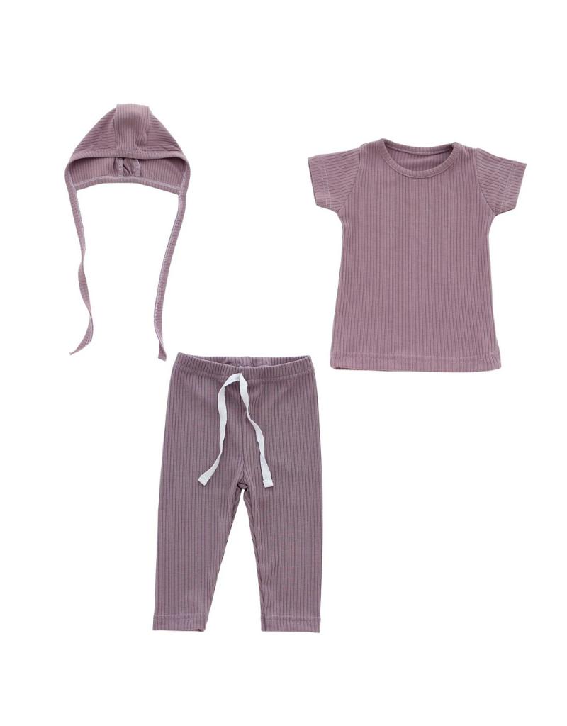 Hatch'd Hatch'd Infant Ribbed Set  with Hat