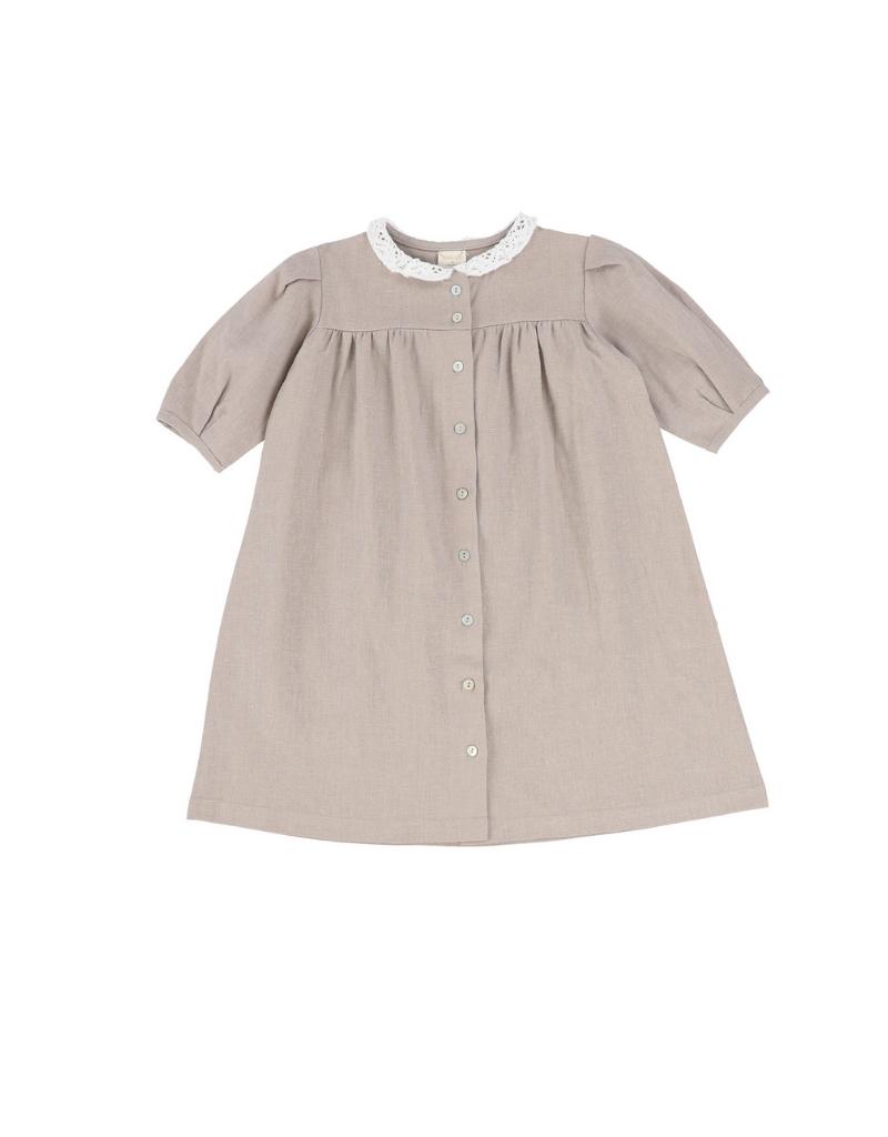 Analogie Analogie Three Quarter Sleeve Linen Collar Dress