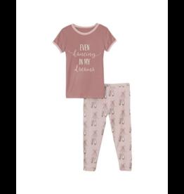 Kickee Pants Kickee  Pants Short Sleeve Baby Rose Ballet  Pajama