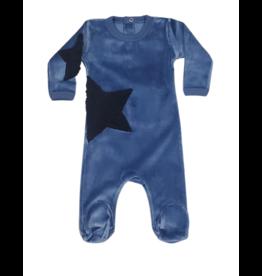 Coton PomPom Coton Pompom Blue Velour Star Footie